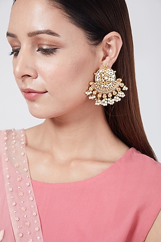 Gold Plated Dangler Earrings by Just Shraddha