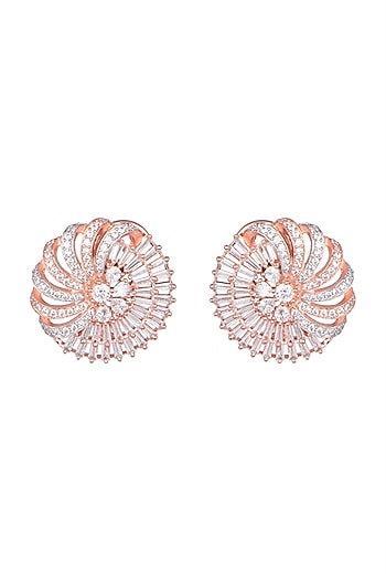 White Gold & Rose Gold Finish Faux Solitaire Circular Earrings by Just Shraddha