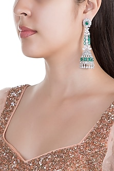 White Finish Stone & Emerald Long Earrings by Just Shraddha