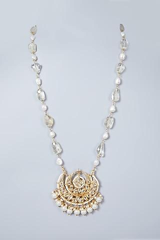 Gold Plated Quartz Chandbali Necklace by Just Shraddha