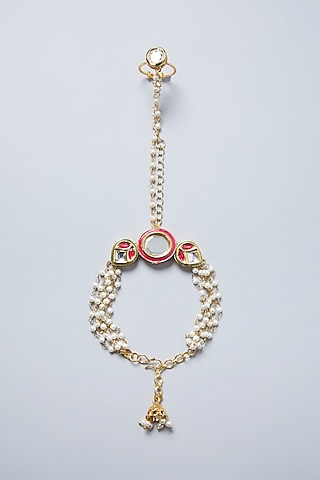 Gold Plated Pink & White Hathphool by Just Shraddha