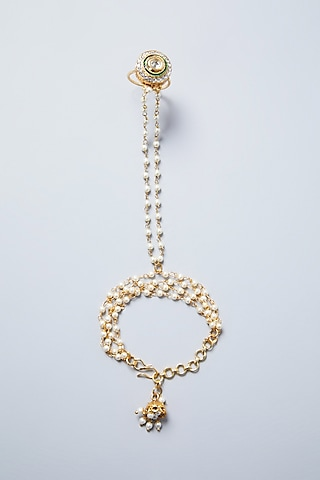 Gold Plated Pearl Hathphool by Just Shraddha