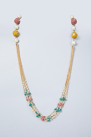 Gold Plated Multi Colored Beads Necklace by Just Shraddha