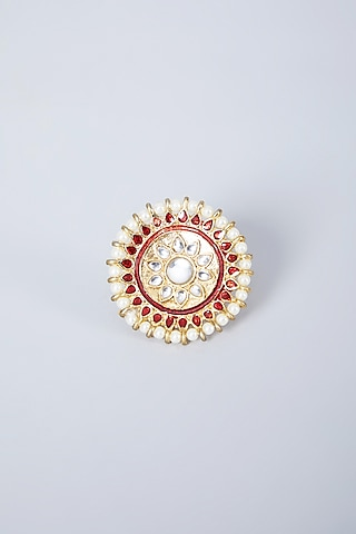Gold Plated Pearl Ring by Just Shraddha