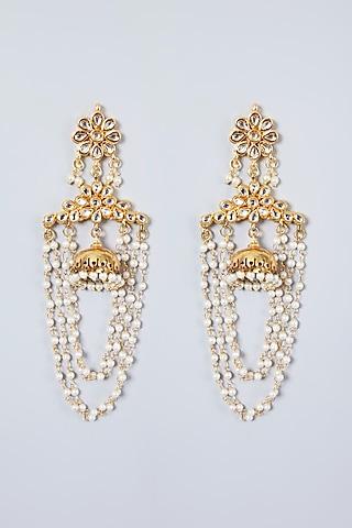 Gold Plated Pearl & Kundan Polki Earrings by Just Shraddha