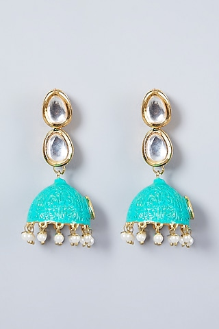 Gold Plated Turquoise Jhumka Earrings by Just Shraddha