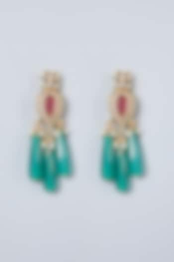 Gold Plated Green Onyx Earrings by Just Shraddha