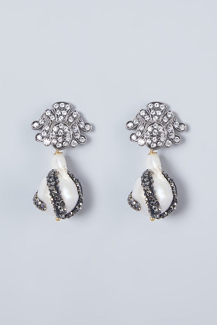 Black Rhodium Finish Zircon Earrings by Just Shraddha