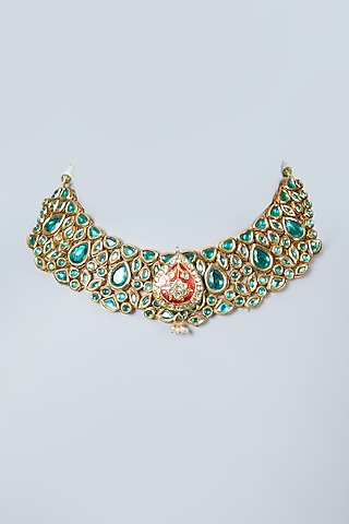 Gold Plated Green Stone Choker Necklace by Just Shraddha