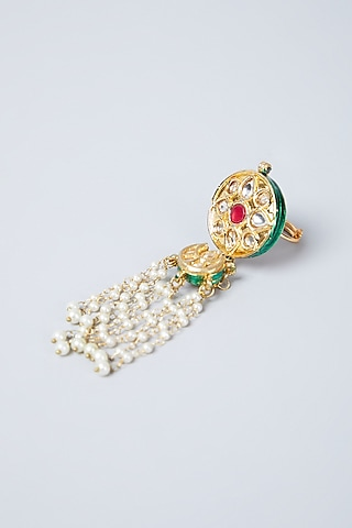 Gold Plated Ruby & Pearls Tassel Ring by Just Shraddha