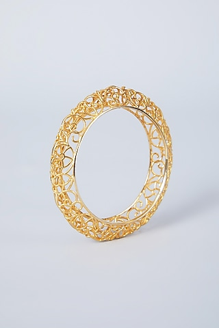 Gold Plated Mesh Bangle by Just Shraddha