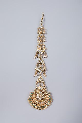 Gold Plated Pearl Maang Tikka by Just Shraddha