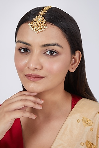 Gold Plated Floral Kundan Polki Maang Tikka by Just Shraddha