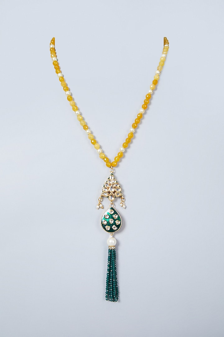 Gold Finish Yellow Beaded Necklace by Just Shraddha