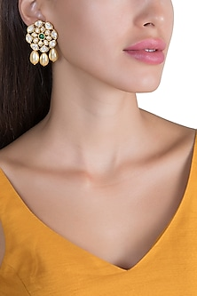 Gold Plated Polki & Pearl Drop Stud Earrings by Just Shraddha