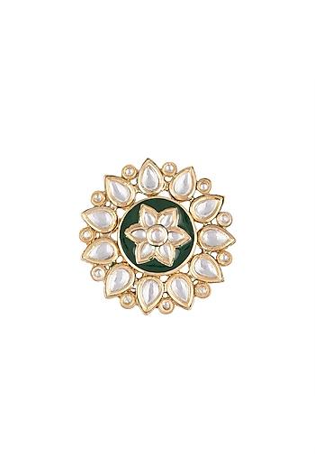 Gold Plated Emerald & Kundan Big Floral Ring by Just Shraddha