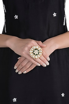 Gold Plated Emerald & Kundan Big Floral Ring by Just Shraddha