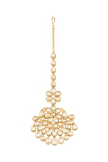 Antique Gold Plated Long Floral Maang Tikka by Just Shraddha