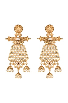 Antique Gold Plated Jaipuri Dangler Earrings by Just Shraddha