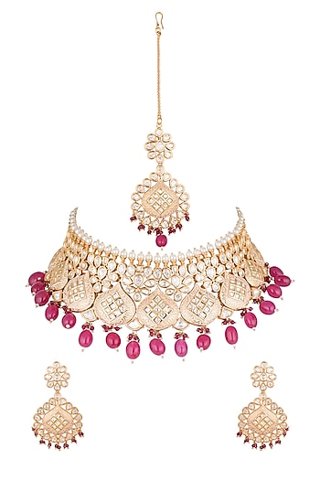 Gold Plated Polki & Ruby Necklace Set With Maang Tikka by Just Shraddha