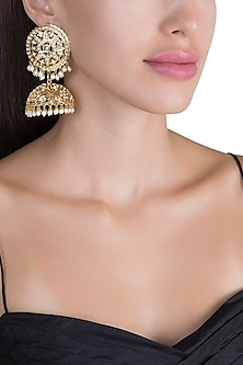 Gold Plated Pearl Hanging Jhumka Earrings by Just Shraddha