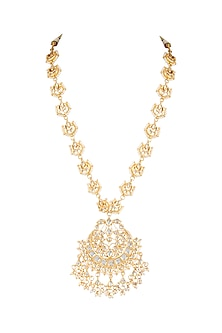 Gold Plated Chandbali Necklace by Just Shraddha-JEWELLERY ON DISCOUNT