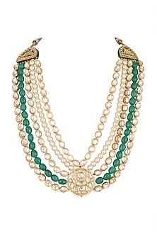 Gold Plated Kundan Rajwadi Necklace by Just Shraddha