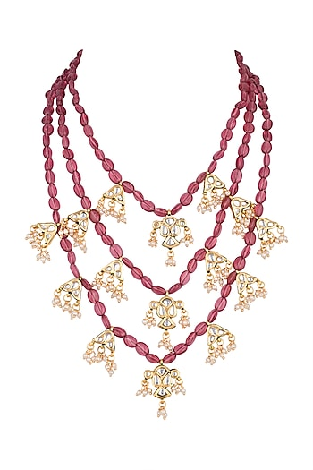 Gold Plated Kundan Peacock Motif Necklace by Just Shraddha