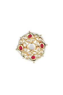 Gold Plated Kundan & Ruby Stones Ring by Just Shraddha