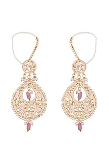 Gold Finish Kundan & Pearl Earrings by Just Shraddha
