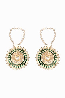 Gold Plated Zirconia Stud Earrings by Just Shraddha