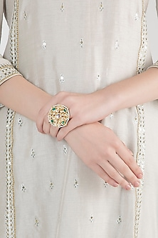 Gold Plated Emerald Stones & Kundan Ring by Just Shraddha