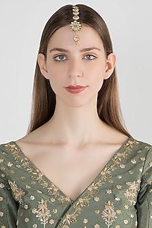 Gold Plated Floral Motif Kundan Maang Tikka by Just Shraddha