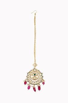 Gold Plated Kundan & Pearls Maang Tikka by Just Shraddha
