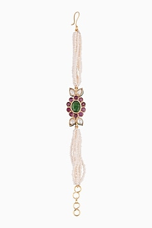 Gold Plated Floral Pearls Bracelet by Just Shraddha