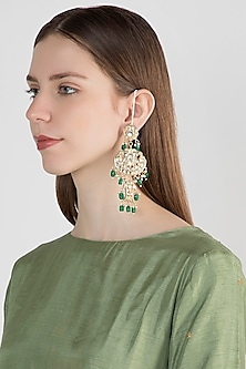 Gold Plated Emerald Chandbali Earrings by Just Shraddha