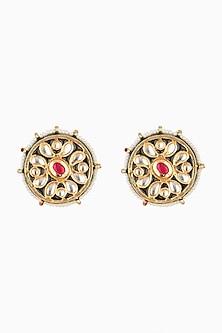 Gold Plated Meenakari Stud Earrings by Just Shraddha
