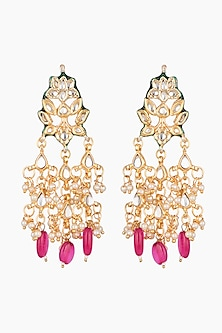 Gold Plated Kundan & Ruby Earrings by Just Shraddha