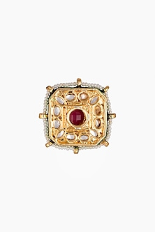 Gold Plated Square Kundan & Ruby Beads Rings by Just Shraddha