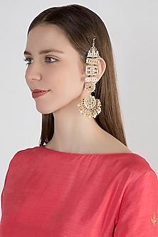 Gold Plated Pearl Chandbali Earrings by Just Shraddha