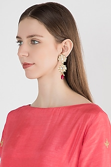 Gold Plated Ruby & Pearl Earrings by Just Shraddha