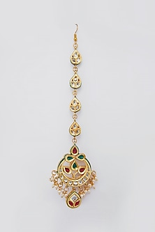 Gold Plated Meenakari Maang Tikka by Just Shraddha