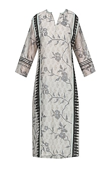 Off White and Black Block Printed Tunic by Krishna Mehta