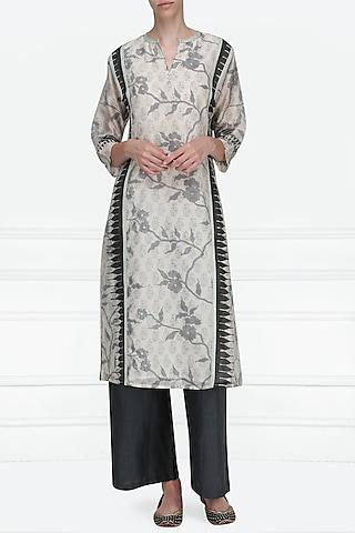 Off White and Black Block Printed Tunic by Krishna Mehta