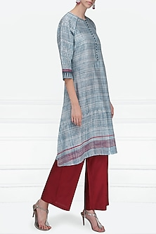 Indigo Blue and Maroon Block Printed Tunic by Krishna Mehta