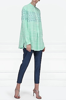 Mint Green Block Printed Short Tunic by Krishna Mehta