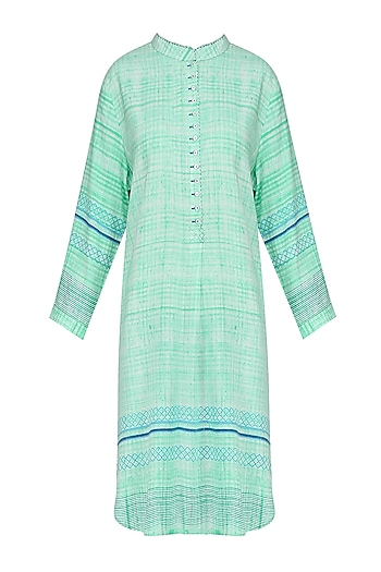 Mint Green Block Printed Tunic by Krishna Mehta