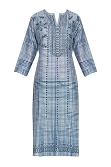 Indigo Blue Block Printed Tunic by Krishna Mehta