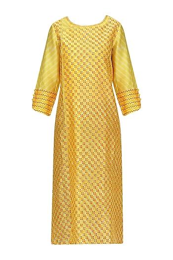Yellow Block Printed Tie-Dye Tunic by Krishna Mehta