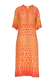 Red and Orange Block Printed Tunic by Krishna Mehta